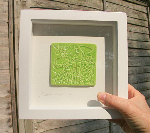 ON SALE NOW - Lime Green ceramic plaque impressed with a woodland design.