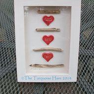"SALE - Valentine - ""Sticky Love"" Ceramic hearts and driftwood picture"