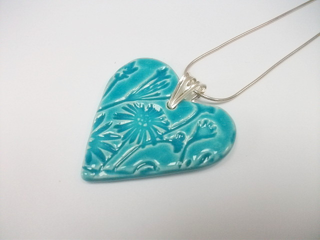 SALE - Heart ceramic turquoise pendant wildflowers necklace - sterling silver