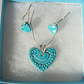 Ceramic necklace and earring set -  sterling silver - Gift boxed