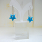 Sterling silver long dangle earwiire with ceramic stars