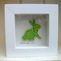 SALE -Ceramic bunny picture impressed with vintage lace Easter Bunny