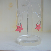 Ceramic Coral  Pink Star Dangle Earrings - Sterling Silver
