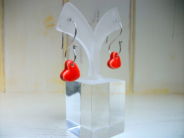 Sunset red ceramic hearts on sterling silver S wire dangle earrings