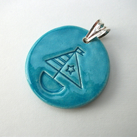 Ceramic turquoise pendant imprinted with a boat design - Reduced - sale