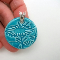 SALE Ceramic round truquoise pendant on sterling silver bail