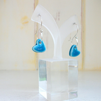 Turquoise Heart Dangle Earrings - Sterling Silver