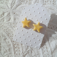 Ceramic star stud earrings - Sun Yellow - sterling silver posts and scrolls