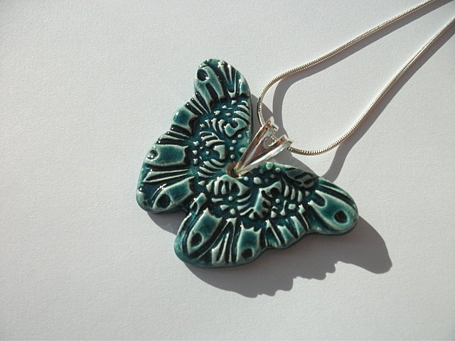 Ceramic Peacock Green Butterfly Pendant Necklace - Sterling Silver