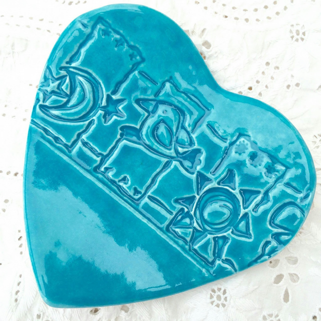 Ceramic heart dish imprinted with a bird design - Trinket dish - Turquoise