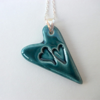 Heart on Hearts Ceramic Pendant Necklace - Peacock Green
