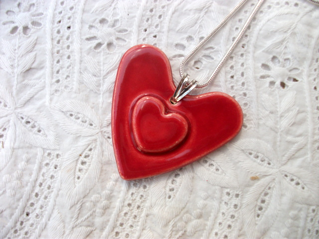 SALE - Ruby Red heart on heart ceramic pendant necklace - sterling silver