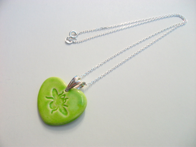 SALE - Bee ceramic pendant necklace - sterling silver - Save our Bees!