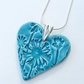 Turquoise Danelion Ceramic Pendant Necklace - Sterling Silver