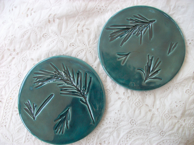 2 Round  Peacock Green Ceramic Coasters - Imprinted with Rosemary