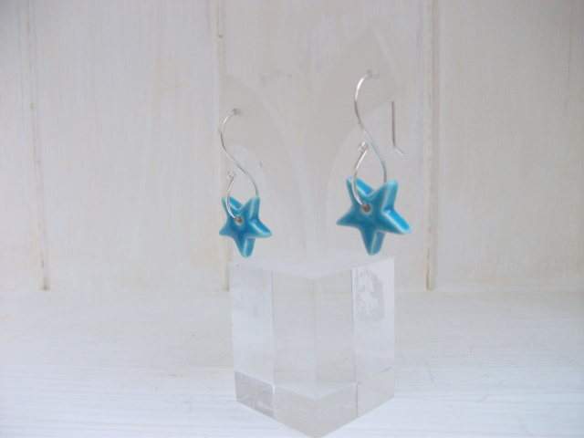 Dangle turquoise ceramic star earrings on sterling silver S wires
