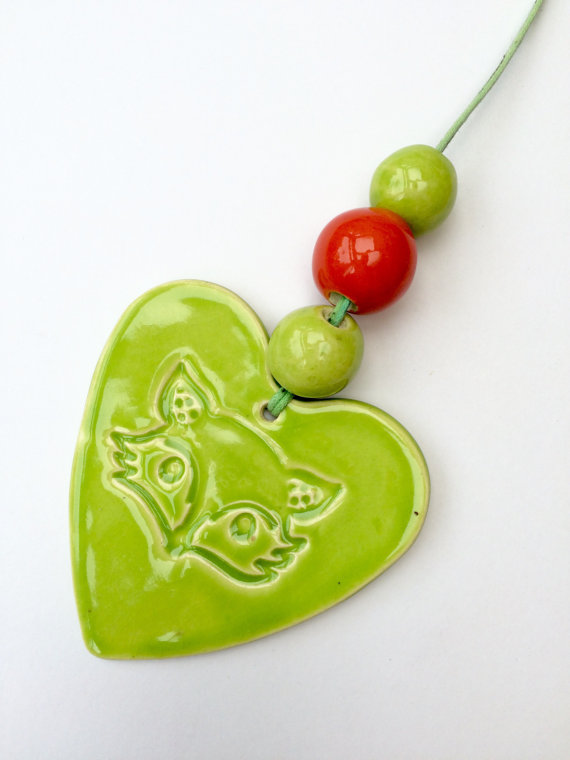 Lime Green Ceramic Fox Hanger with 3 beads