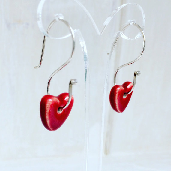 Ruby Red Ceramic Heart Dangle Sterling Silver Earrings