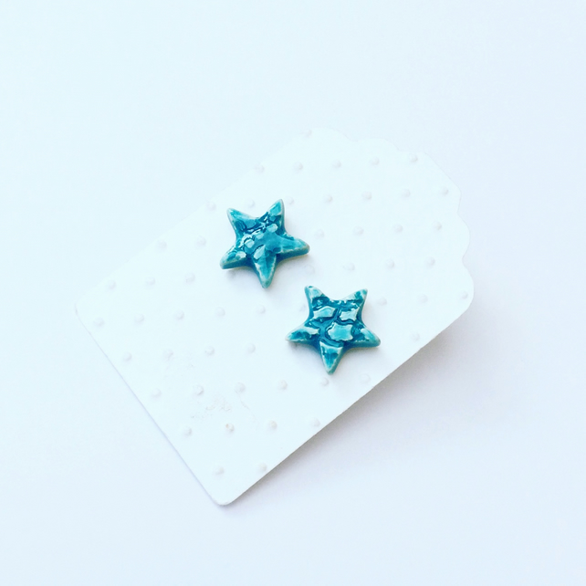 Turquoise star stud ceramic earrings-sterling silver