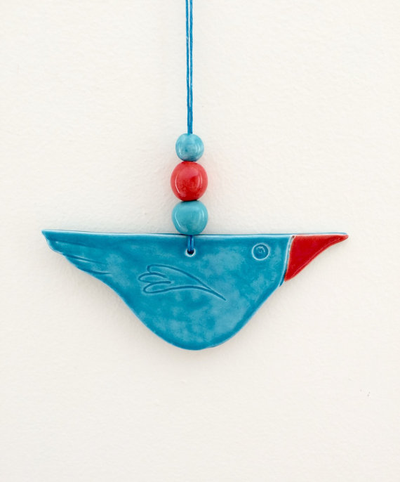 Quirky Bird Ceramic Hanger with 3 Beads