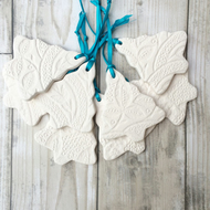 Christmas Trees imprinted with vintage lace - Ceramic White Christmas Trees