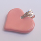 Sale Ceramic pink heart pendant - sterling silver
