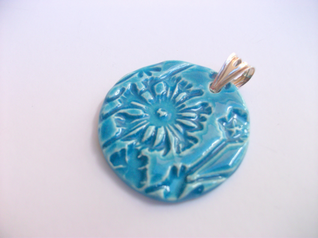 SALE Ceramic turquoise pendant with Sterling Silver Pronged Bail