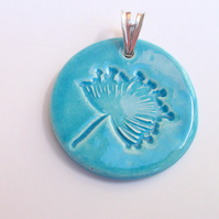 SALE - Turquoise pendant with a dandelion design - Sterling silver