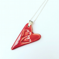 VALENTINE - SALE - Ceramic RedHeart Pendant Necklace - Sterling Silver