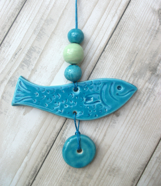 Ceramic Fish Hanger with 3 beads