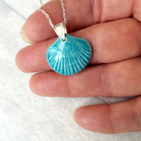 Ceramic shell pendant necklace - sterling silver