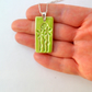 Lime Green ceramic pendant necklace - sterling silver