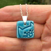 SALE Ceramic Cat Face pendant necklace - sterling silver