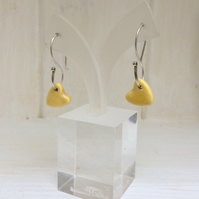 SALE - Ceramic yellow hearts - Sterling silver dangle ear wires
