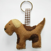Cute felt dog keyring/ decoration