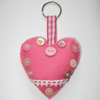 Pink heart keyring/ decoration