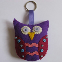 Large felt owl keyring/ decoration