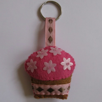 Cute pink cupcake keyring/ decoration