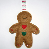 Gingerbread man felt Christmas decoration