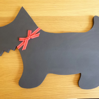 Scotty dog chalk board- black board, hand cut