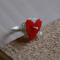 RED heart ring with a cloud of white seed beads