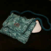 Green knitted cable bag
