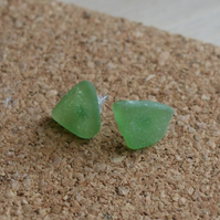 Green collection - Grecian sea glass stud earrings