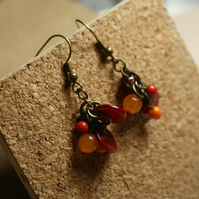 RED recycled bead earrings