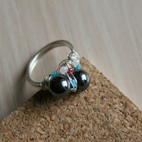Haematite Bead Ring with coloured seed bead cloud
