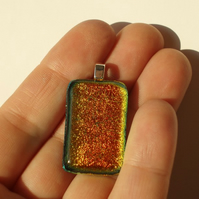 Pendant: Orange Yellow Gold Dichroic Glass