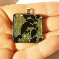 Pendant: Gold Aqua Black Dichroic Glass