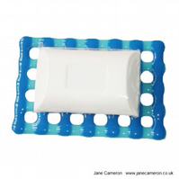 Fused Glass Soap Dish Raft - Blue Turquoise Waffle Stripes