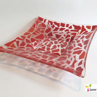 Glass Fruit Salad Bowl Dish Red Confetti 30cm Large Fused - BGD-005