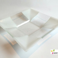 Glass Fruit Salad Bowl Dish Clear White Shiny Squares 30cm Large Fused